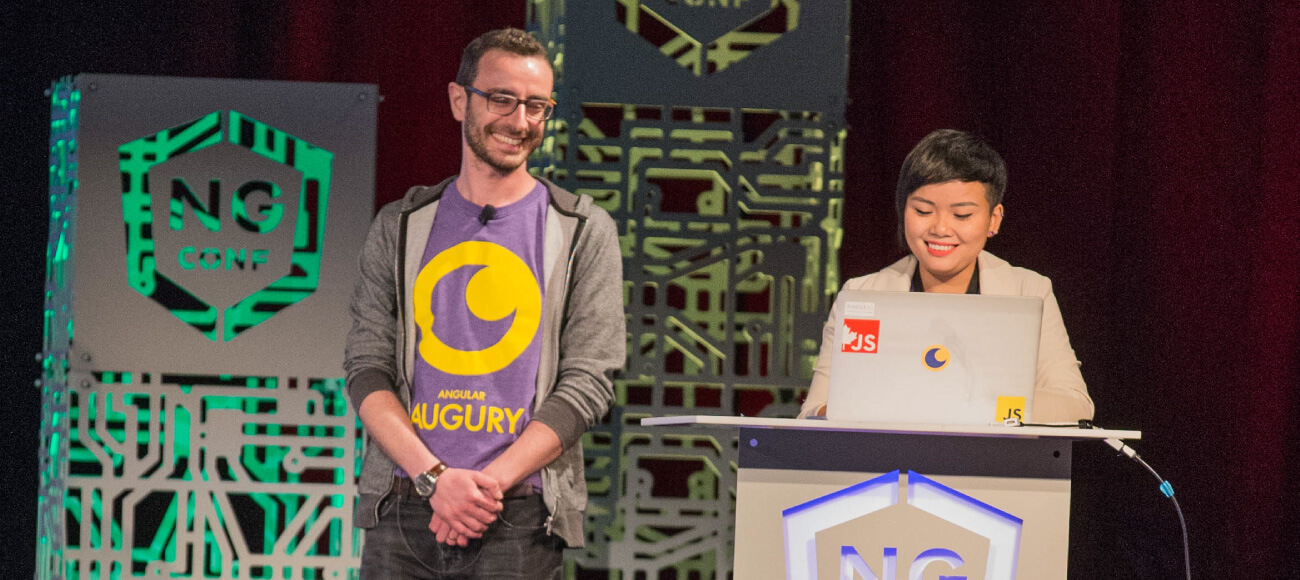 Igor Kamenetsky and Vanessa Yuen speaking at ngConf 2016