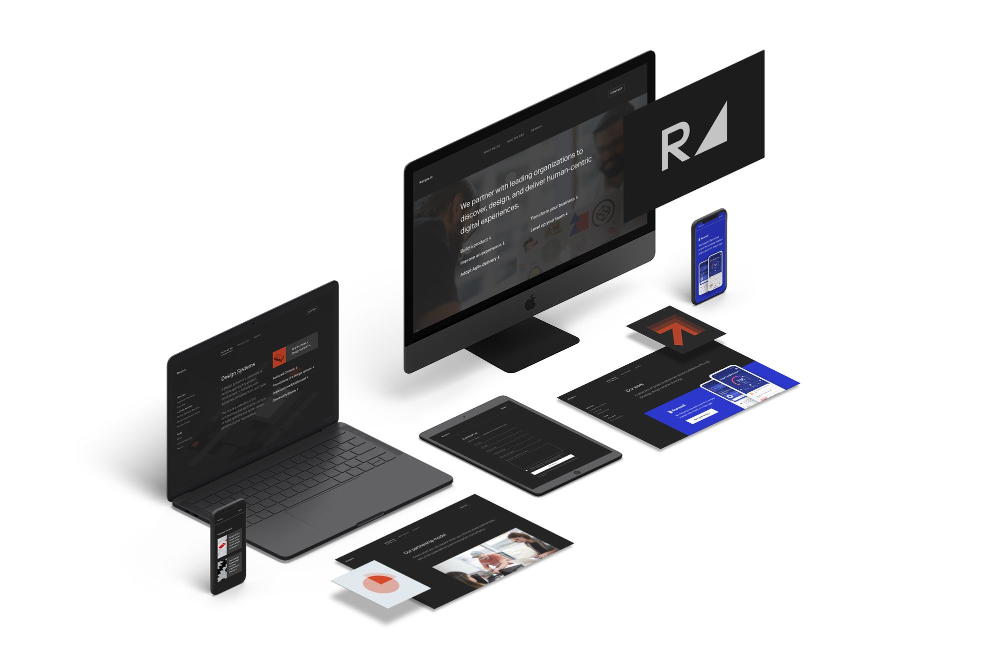 screens of various devices showing Rangle webpages built using Figma