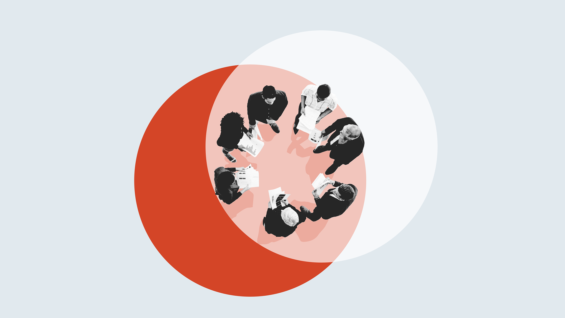 Illustration of coworkers standing in a circle