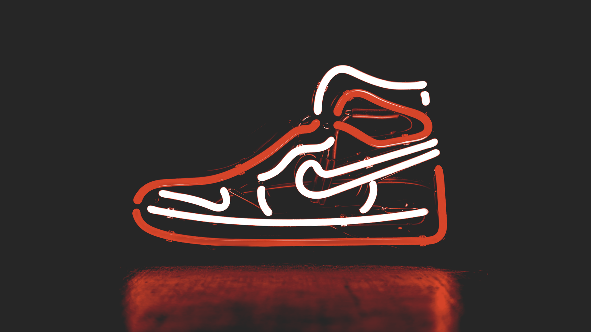 neon sign Nike shoe with logo