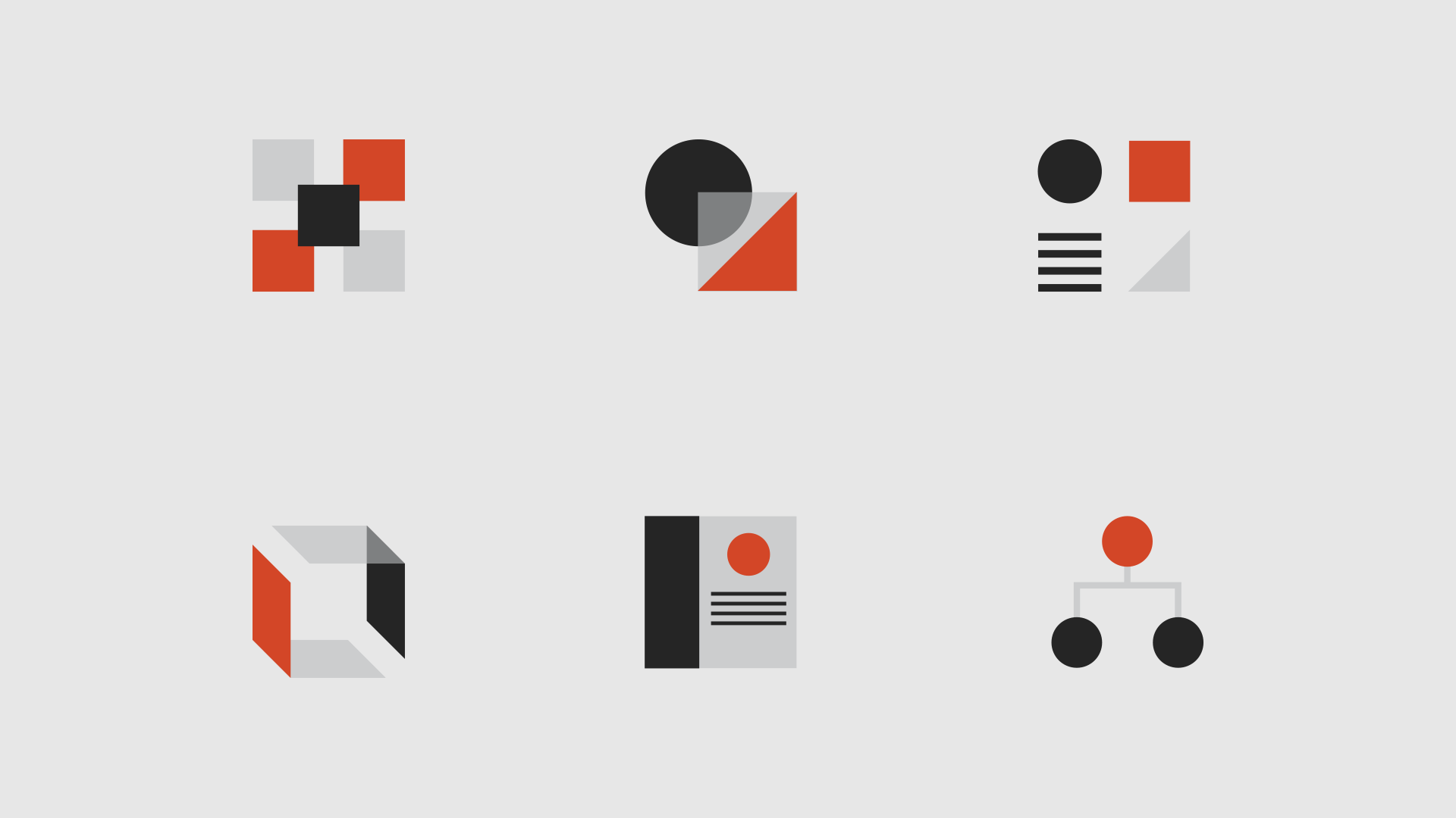 Six icons representing the six pieces of a design system
